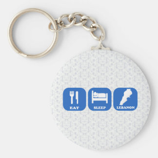 Eat Sleep Lebanon Basic Round Button Keychain