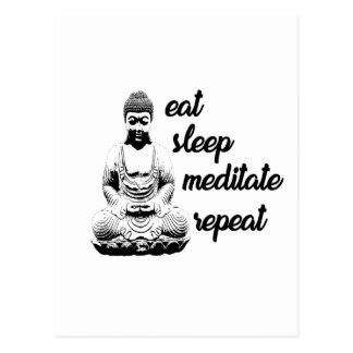Eat, sleep, meditate, repeat postcard