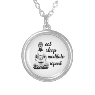 Eat, sleep, meditate, repeat silver plated necklace