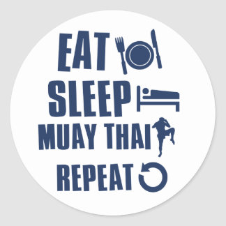 Eat Sleep muay thai Round Sticker