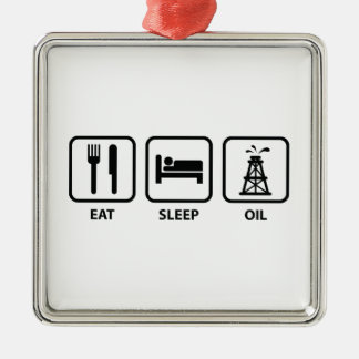 Eat Sleep Oil Silver-Colored Square Ornament