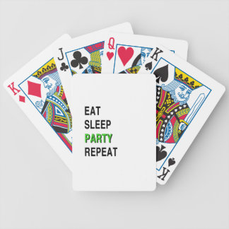 Eat Sleep Party Repeat Bicycle Playing Cards