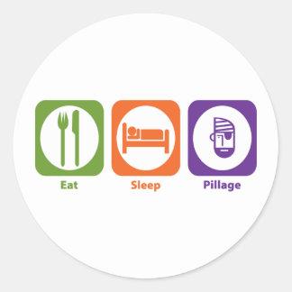 Eat Sleep Pillage Classic Round Sticker