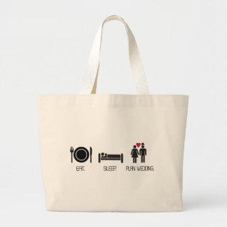eat.sleep.plan wedding jumbo tote bag