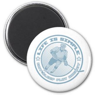 Eat Sleep Play Hockey 2 Inch Round Magnet