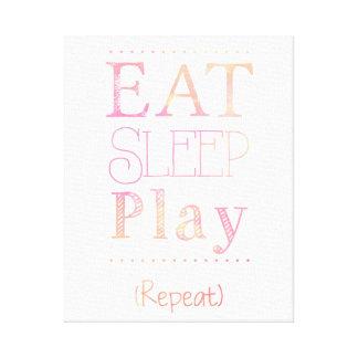 Eat Sleep Play Repeat Funny Kid Toddler Art Canvas