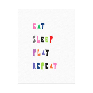 Eat, sleep, play, repeat, nursery art canvas print