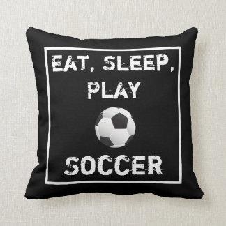 Eat Sleep Play Soccer Black & White Pillow