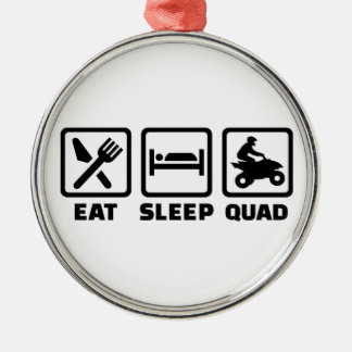 Eat sleep Quad Silver-Colored Round Ornament