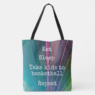 """Eat Sleep Repeat, Basketball"" quote teal tote bag"