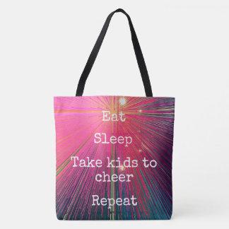 """Eat Sleep Repeat, Cheer"" quote pink tote bag"