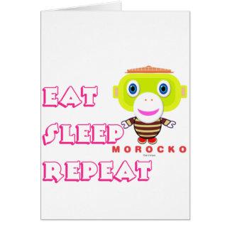 Eat Sleep Repeat-Cute Monkey-Morocko Card