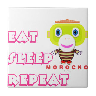 Eat Sleep Repeat-Cute Monkey-Morocko Tile