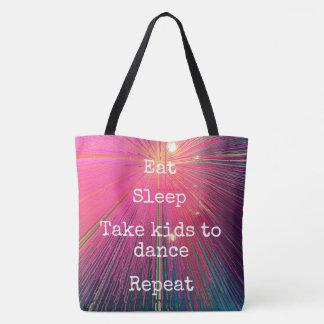"""Eat Sleep Repeat, Dance"" quote pink tote bag"