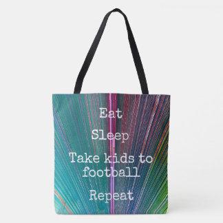 """Eat Sleep Repeat, Football"" quote teal tote bag"