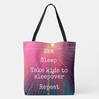 """Eat Sleep Repeat, Sleepover"" quote pink tote bag"
