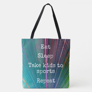 """""""Eat Sleep Repeat, Sports"""" quote teal tote bag"""