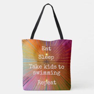 """Eat Sleep Repeat, Swimming"" quote orange tote bag"
