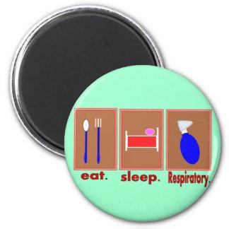 Eat Sleep Respiratory 2 Inch Round Magnet