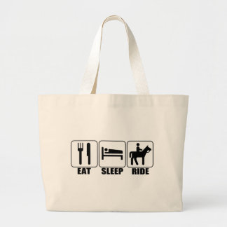 Eat Sleep Ride a Horse Equestrian Horseback Rider Large Tote Bag