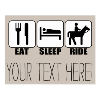 Eat Sleep Ride a Horse Equestrian Horseback Riding Postcard