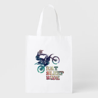 Eat Sleep Ride Dirt Bike Reusable Grocery Bag
