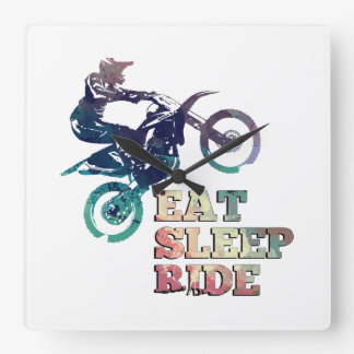 Eat Sleep Ride Dirt Bike Square Wall Clock
