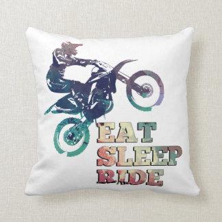 Eat Sleep Ride Dirt Bike Throw Pillow
