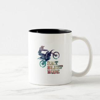 Eat Sleep Ride Dirt Bike Two-Tone Coffee Mug