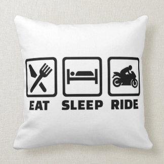 Eat sleep ride motorcycle throw pillow