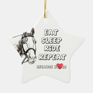 Eat Sleep Ride Repeat Ceramic Ornament
