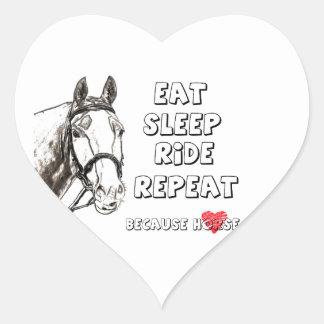 Eat Sleep Ride Repeat Heart Sticker