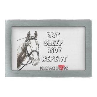 Eat Sleep Ride Repeat Rectangular Belt Buckle