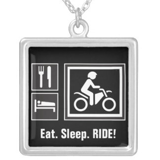 Eat. Sleep. RIDE! Silver Plated Necklace