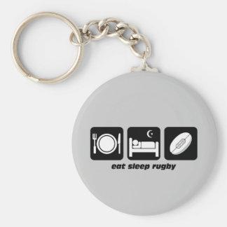 eat sleep rugby keychain