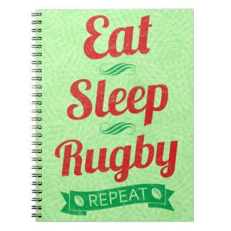 Eat Sleep Rugby Repeat Notepad Spiral Notebook
