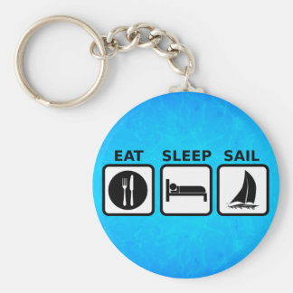 Eat Sleep Sail Basic Round Button Keychain