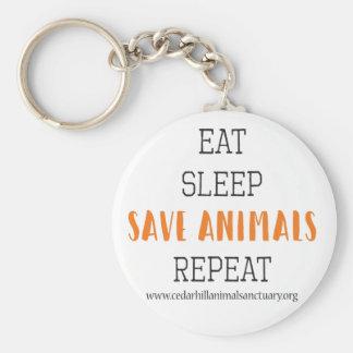 Eat Sleep Save Animals Keychain