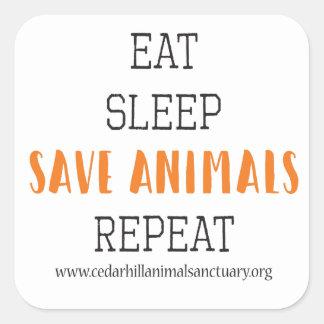 Eat Sleep Save Animals Square Sticker
