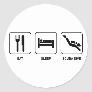 Eat Sleep Scuba Dive Classic Round Sticker