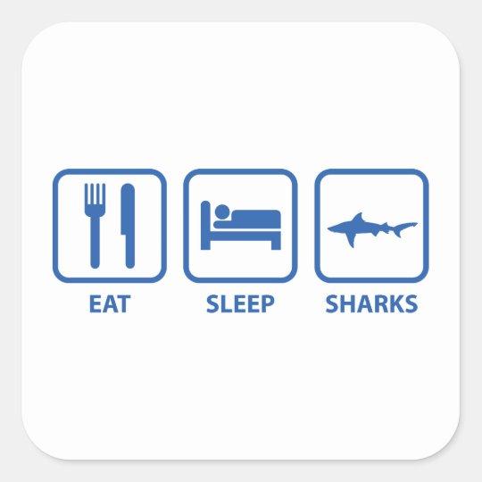 Eat Sleep Sharks Square Sticker
