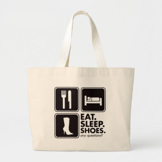 Eat Sleep Shoes - Black Large Tote Bag