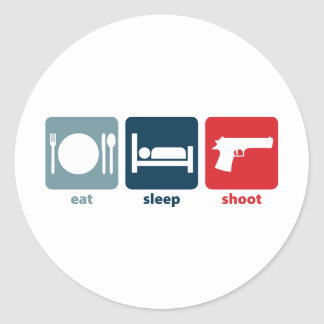 Eat, Sleep, Shoot Round Sticker