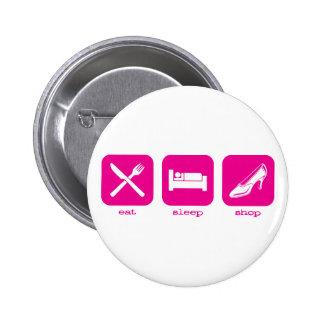 Eat Sleep Shop Pinback Buttons