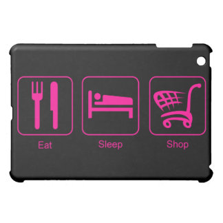 Eat, Sleep, Shop Pink Symbols Design iPad Mini Covers