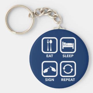 Eat. Sleep. Sign. Repeat.   ASL keychain. Keychain