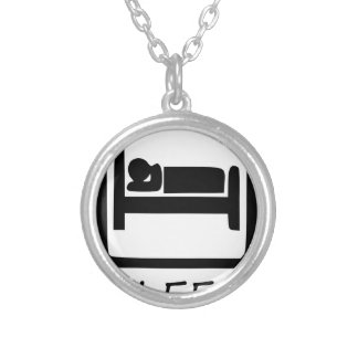 EAT SLEEP SILVER PLATED NECKLACE