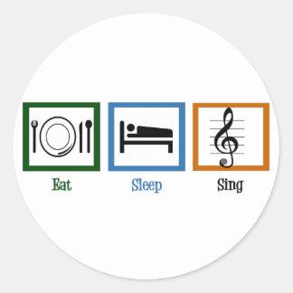 Eat Sleep Sing Round Sticker