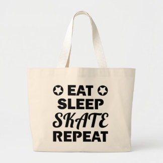Eat Sleep Skate Repeat, Roller Derby Large Tote Bag