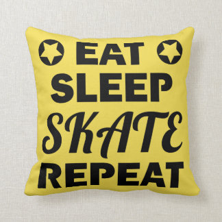 Eat Sleep Skate Repeat, Roller Derby Throw Pillow